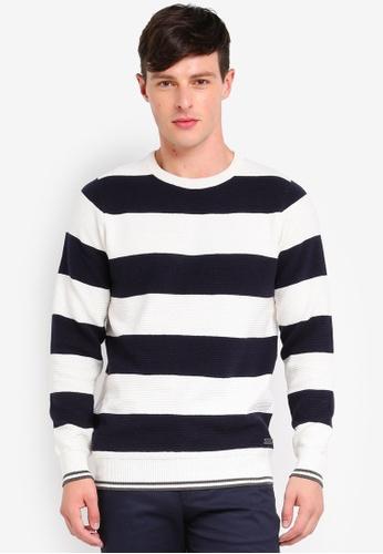 Brave Soul navy Thick Stripe Knitwear 856D1AA558E75BGS_1
