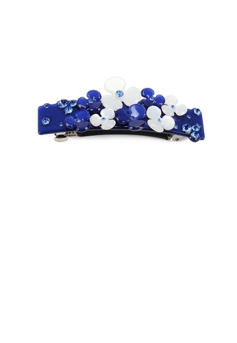 Glamorousky black and blue Fashion Temperament Blue Flower Hair Slide with Cubic Zirconia 5F52CAC1A31519GS_1