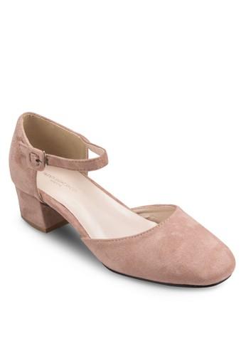 Pantone 尖沙咀 esprit色側鏤空粗跟涼鞋, 女鞋, 鞋