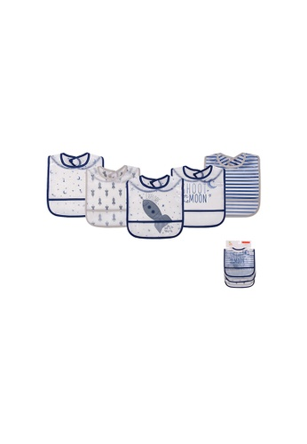 Little Kooma white and blue Yoga Sprout Baby Peva Waterproof Bib 5pcs 93028 - 0528 ACBEEKC5F66011GS_1