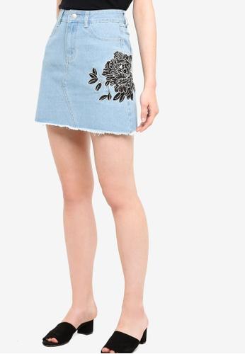 Something Borrowed blue Embroidered Denim Mini Skirt 2328AAADCDF024GS_1
