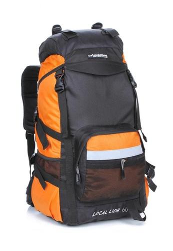 Local Lion orange Local Lion Steel Support Water Resistant Hiking Backpack L STEEL 60L (Orange) LO780SE24SVRMY_1