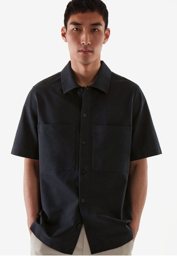 COS blue Oversized-Fit Short-Sleeve Shirt 5BE6BAAD0343DCGS_1