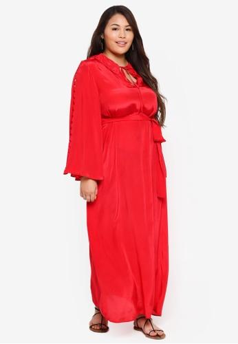 ELVI red Plus Size Asenath Maxi Dress With Cutout Detail C2DD8AA931B420GS_1