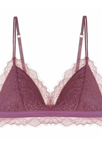 ZITIQUE French Ultra-thin Triangle Cup Lace Non-wire Bra-Red 1B89EUS19C148EGS_1