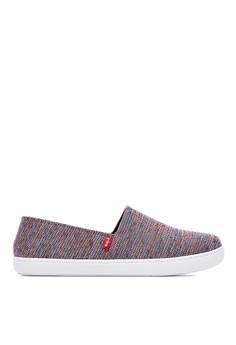 【ZALORA】 MIT。V型勾針織布。百搭休閒鞋-09374-藍紅