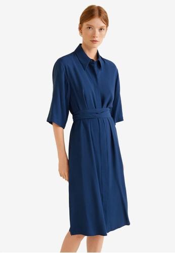Mango blue Bow Shirt Dress A0B27AA6170D69GS_1
