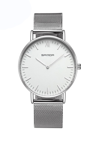 SANDA white SANDA 208 Luxury Ultra Thin Stainless Steel Quartz Men Watch (Silver White) 42D1EAC5024AA8GS_1