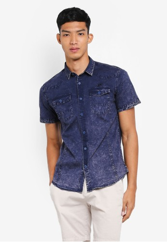 Fidelio navy Washed Double Pocket Short Sleeves Shirt 1C683AACD8214EGS_1