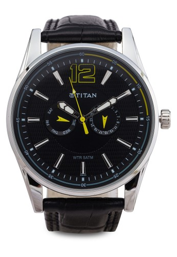 Titan  932esprit hong kong 分店2SL07 多功能三指針皮革錶, 錶類, 紳士錶