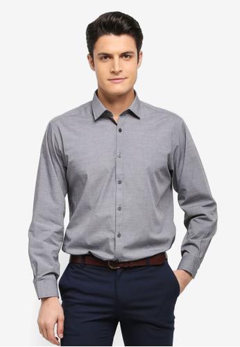 Kent & Crew grey Fashion Custom Fit Long Sleeve Shirt C3EF9AA0777433GS_1