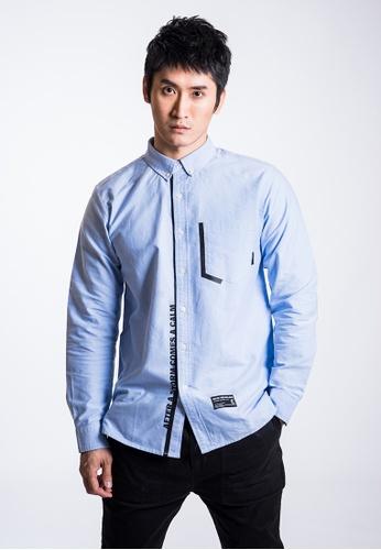 L.I.M.I.T.E 藍色 男裝印花牛津紡恤衫 AAB0FAA21B2920GS_1