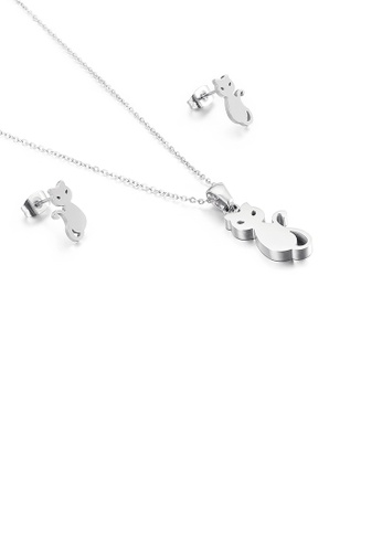 Glamorousky silver Simple and Cute Cat 316L Stainless Steel Necklace and Stud Earrings Set C752AACCB2B52BGS_1