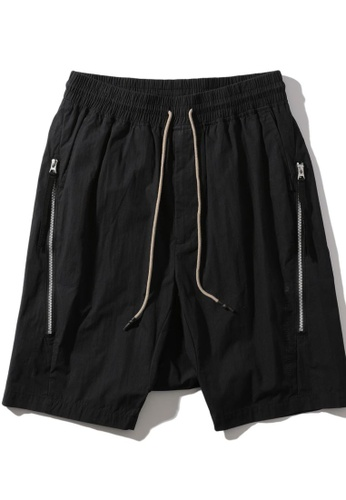 MUSIUM DIV black Zip detail drawstring drop crotch shorts 5FC6BAA03ABE78GS_1