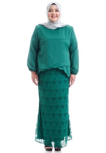 Ashura green Naresha Kurung With Layered Scallop Plus Size 658DBAABBBE1CDGS_1