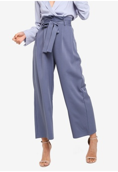 5bc2b164ea5241 ZALORA grey Wide Leg Cropped Pants 35354AA8375030GS 1