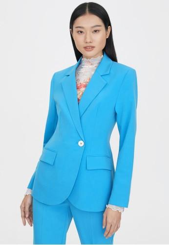 Pomelo blue Side Single Button Blazer - Blue B6CCCAA64CAFE5GS_1