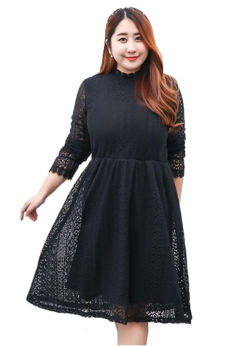 Plus Size Black Lace Dress D8102