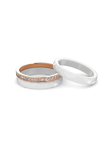 Her Jewellery white Tri Ceramic Ring (White) - Made with premium grade crystals from Austria HE581AC0RA1BMY_1