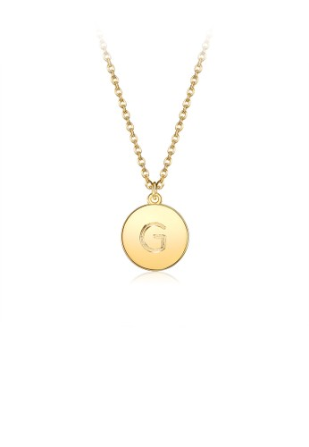 Glamorousky silver Fashion Simple Plated Gold Letter G Round Pendant with Necklace DCA32AC49BD657GS_1