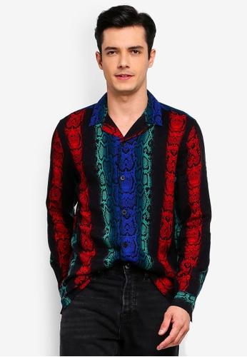 Topman 多色 蛇紋長袖襯衫 1EE36AABA5FA0DGS_1