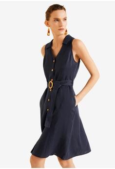 a34ad876d Mango navy Belt Linen Dress 553D3AA5DD5A8AGS 1