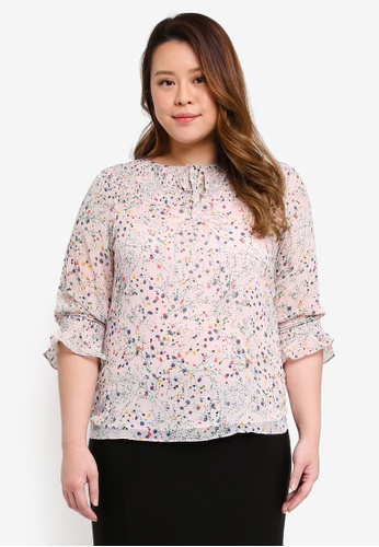 Ex'otico pink Plus Size 3/4 Sleeve Gathers Blouse A4436AAA32E235GS_1
