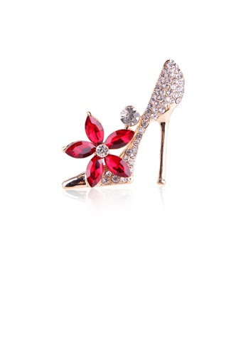 Glamorousky white Fashion Bright Plated Gold High Heels Red Flower Brooch with Cubic Zirconia 3C129AC7549579GS_1