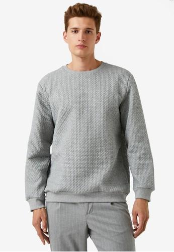 KOTON grey Texture Sweatshirt 9BD8CAA370740CGS_1