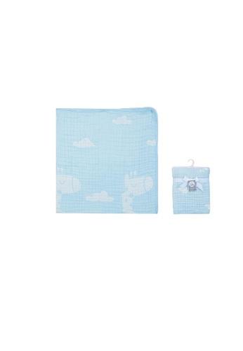 Little Kooma blue Baby Muslin Blanket 6 Layers Giraffe Clouds - Blue 1646FKCA28BB5CGS_1
