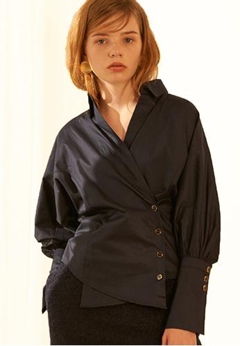 Salon de Yohn navy Cotton Wrap Shirt SA458AA0GX51SG_1