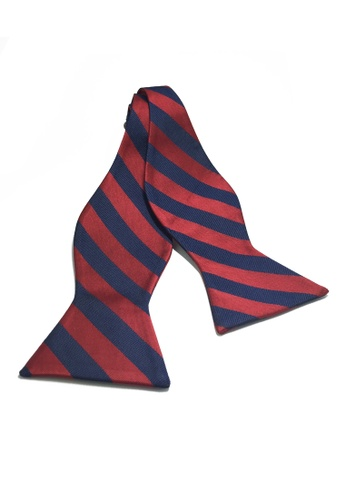 Splice Cufflinks Manual Series Dark Blue & Red Stripes Self-tied Man Made Silk Bow Tie SP744AC25KZMSG_1