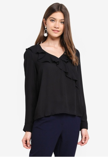 ONLY black Intu L/S Frill Wrap Shirt 45250AA8EC7240GS_1