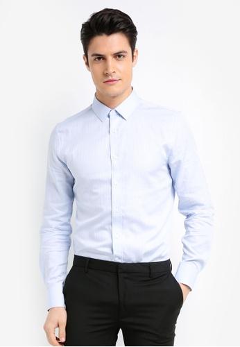 Topman 藍色 質感修身長袖襯衫 20356AAF9BC00BGS_1