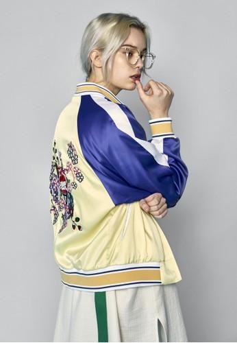 拼色拉克蘭袖esprit 台中刺繡棒球外套, 服飾, 外套