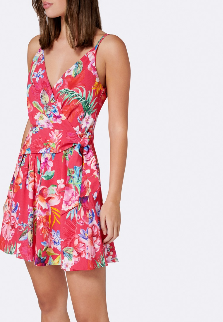 Floral Caressa Tie Detail Forever Flippy Pink Dress New C0wFqxCB