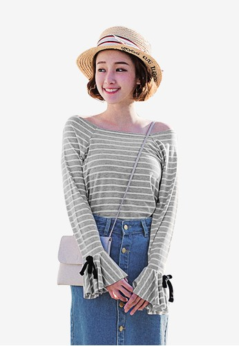Tokichoi multi and grey Ruffled Wide Neck Striped Top CD83AAAFB25D38GS_1