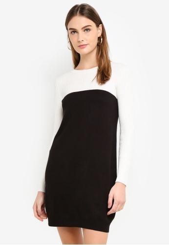 OVS black and white Two-Tone Ribbed Dress 3A223AA4E9A9F4GS_1