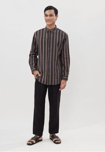 ANDY SULAIMAN multi WENG DARK BROWN LINEN SHIRT F1E31AA3E0376BGS_1