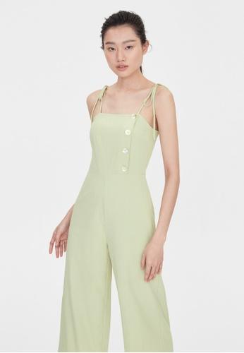 Pomelo green Cami Bow Tie Shoulder Jumpsuit - Green DD0E6AAE67E6F9GS_1