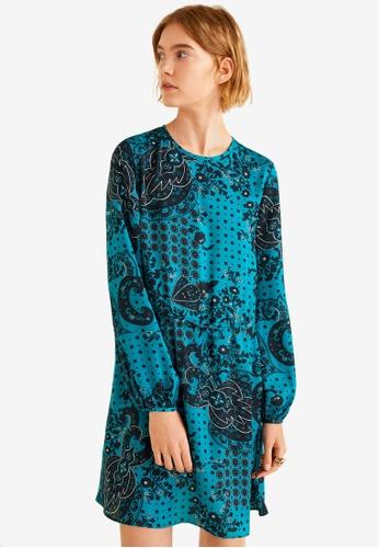Mango blue Paisley Print Dress 04F51AA75FB2A6GS_1