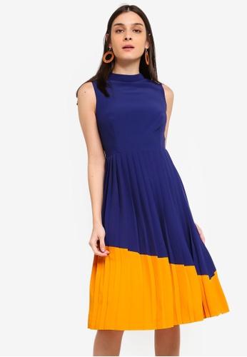 ZALORA yellow and navy Contrast Pleated Dress CB92FAAAA49197GS_1