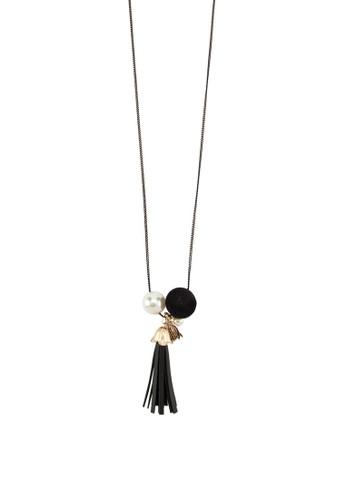 珍珠球飾流蘇垂墜項鍊, 飾品配件, esprit retail飾品配件
