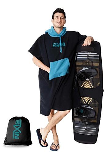 NIXIE black and turquoise Plain Poncho Towel 42B51US5281962GS_1