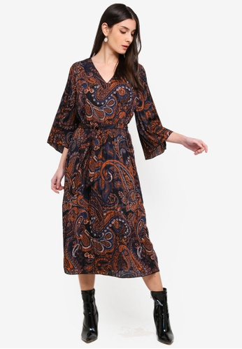 ONLY black and multi Riley 3/4 Midi Dress 869BFAAC51A776GS_1