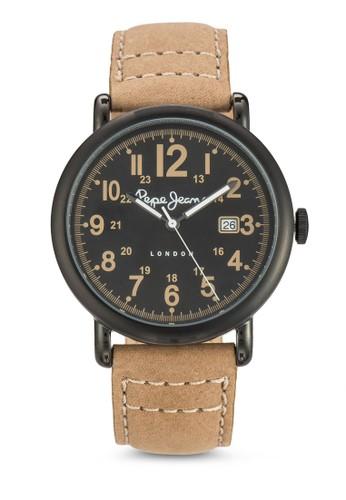 R235110500esprit門市地址4 Charlie 簡約皮革圓錶, 錶類, 飾品配件
