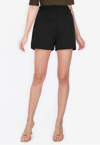 ZALORA WORK black Buckle Waist Detail Shorts 3612BAAB2B52ADGS_1
