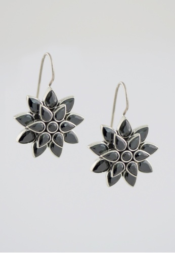 Aadyaa Singapore black and silver Silver Double Flower Earrings - Black E59D6ACF512ED1GS_1