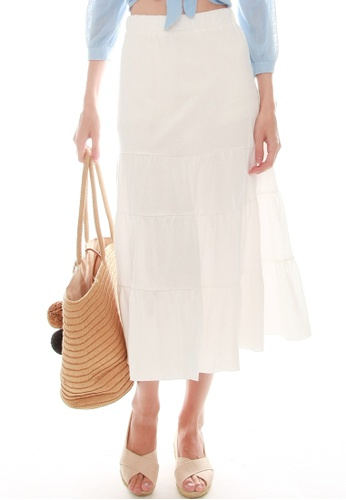 JOVET white Tiered Skirt 1B6F8AAED1FC3FGS_1