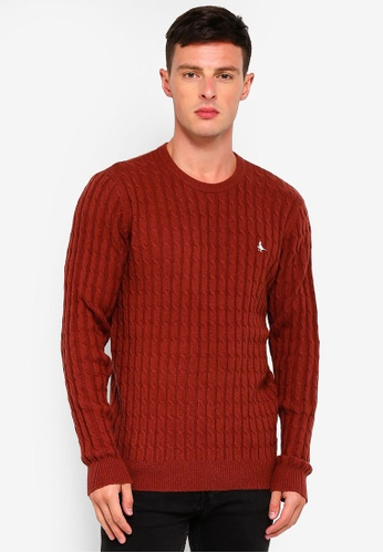 Jack Wills 橘色 Marlow Cable Crew Jumper C151AAAAC5E104GS_1
